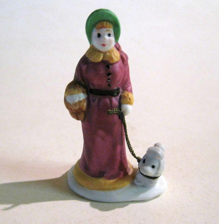 Woman Walking Poodle Miniature Figurine For Lemax Village Landscape Accessory #Lemax