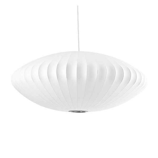 The Original George Nelson Bubble Lamp Saucer Pendant is a tried-and-true standard of the modern vocabulary. The Bubble Lamps, with their iconic sculptural shapes, were designed by Nelson in 1947. The
