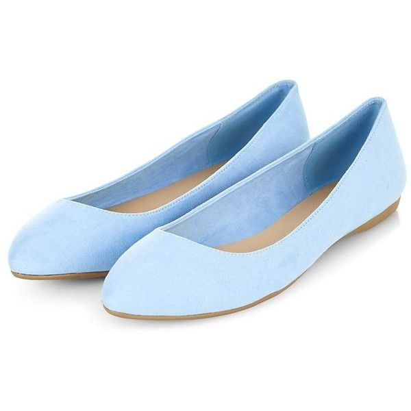 Light Blue Suedette Pointed Pumps ($9.10) ❤ liked on Polyvore featuring shoes, flats, lullabies, pointy toe shoes, flat soled shoes, pointed shoes, flat shoes and pointy flats