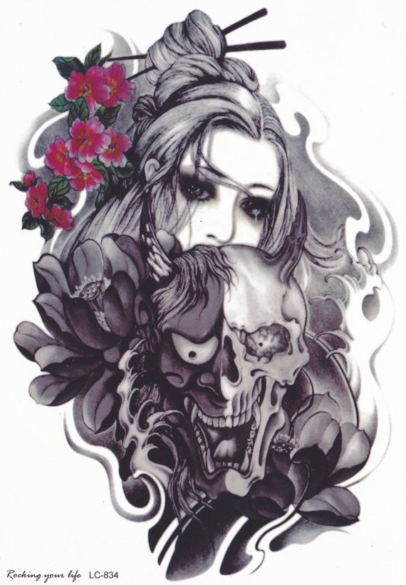 Gothic Portrait Lady Temporary Tattoo for Arm, Back, Leg, Neck etc. – MyBodiArt