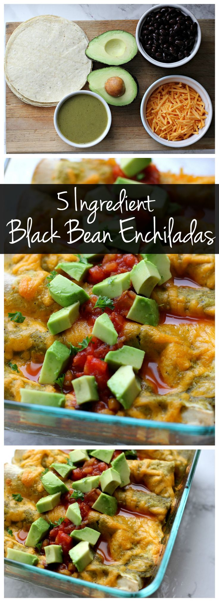 These 5 ingredient black bean enchiladas only take a few minutes to assemble so they're a perfect vegetarian weeknight recipe!