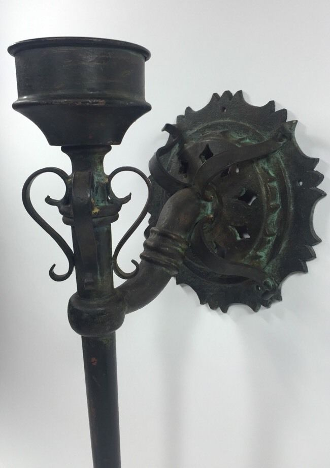 Antique Gothic Medieval Torch Wall Sconce Cast Iron