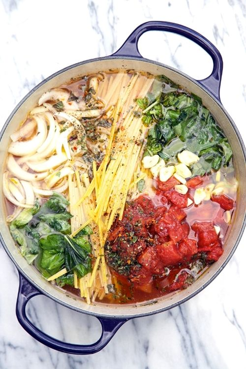 """One Pot Tomato Basil Pasta - tried it...not bad! Great """"place to start"""" ... Can't wait to play with this. Maybe add shrimp or chicken. Definitely going to try spinach and play with the seasonings."""