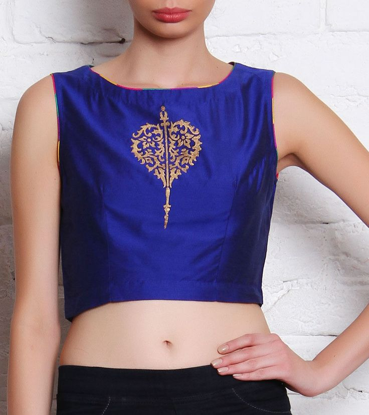 ANS, Blue Hand Block Printed Cotton Silk Crop Top. Indianroots.com