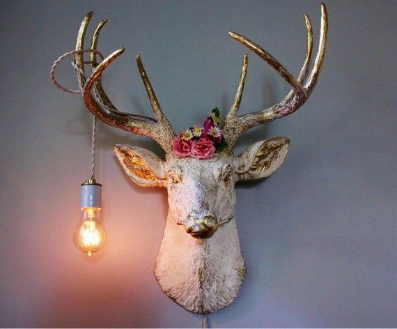 Items Similar To Faux Taxidermy Deer Head Wall Mount Sconce Light