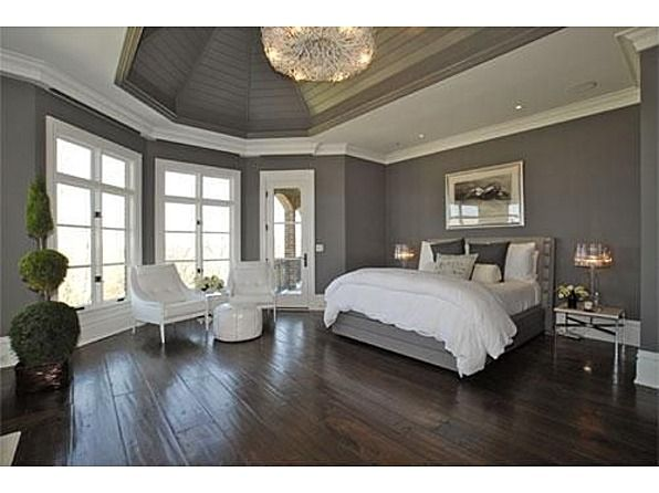white and grey with the dark wood floor OoooMansion Master