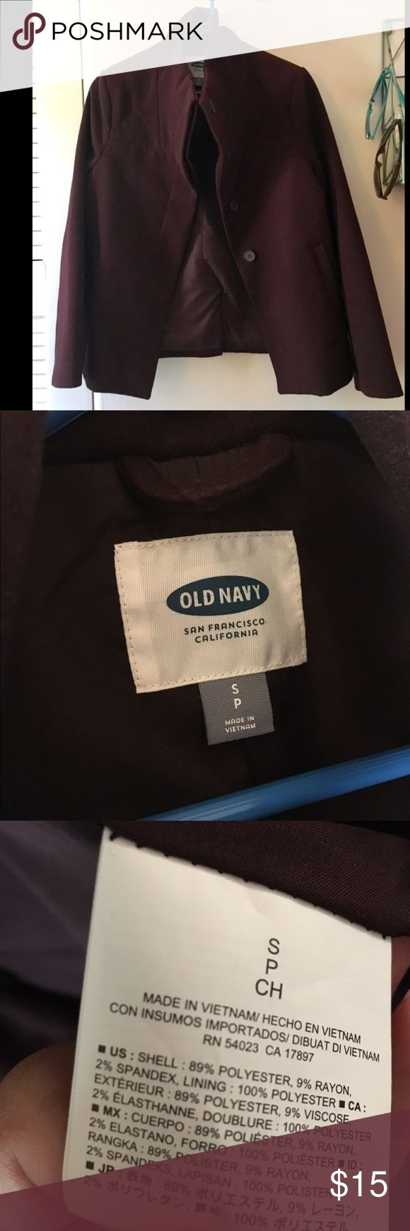 Old navy pea coat Aubergine pea coat from Old Navy. Very clean lines Old Navy Jackets & Coats Pea Coats