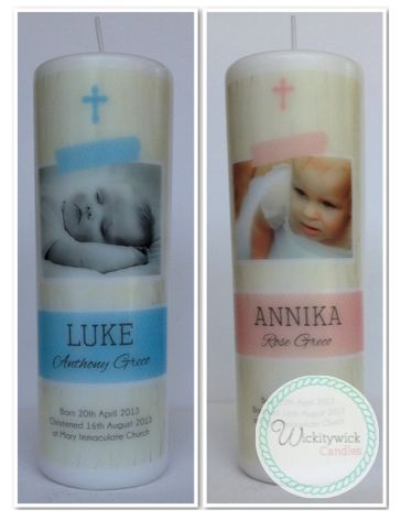 Akaroa Personalised Photo Candle by WIckitywick Candles #Baptism Candle #Christening Candle #Naming Day Candle www.wickitywickcandles.com.au
