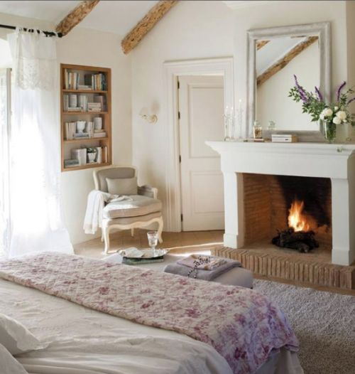 Country Style Bedroom With Open Fire And French Doors To Patio. French  Industrial Bedroom French