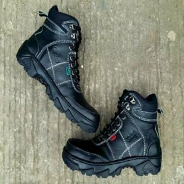 Sepatu Boots Kickers Safety Touring Motor Kerja Pria Hitam