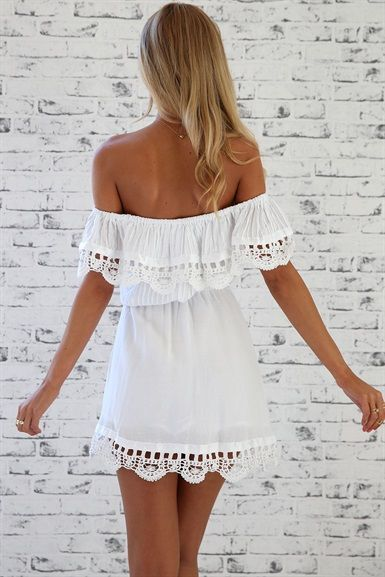 #summer #fashion / off-the-shoulder crochet dress