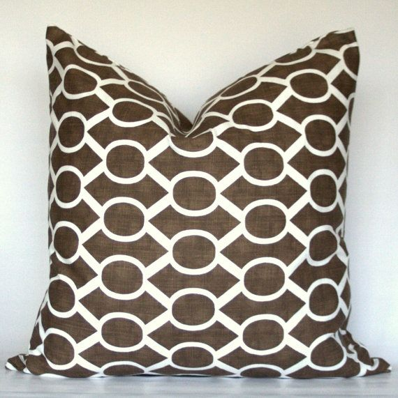 Brown & White Decorative Pillow Cover with Oval Geometric Trellis Pat?