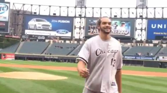 Joakim Noah Throws Out Two First Pitches at White Sox Game (VIDEO)
