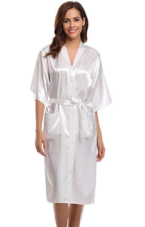 39726cbf3d9 Aibrou Women s Kimono Robe Dressing Gown Long Classic Satin Wedding  Nightwear at Amazon Women s Clothing store