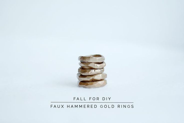 Faux hammered gold ring by Fall For DIY