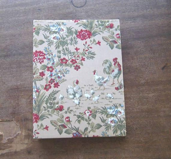 1970s Vintage Shabby Chic Fabric-Covered Photo Album 200