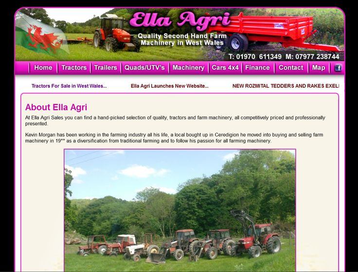 Bespoke Website Design for Ella Agri Farm Machinery Sales in West Wales, Tractors, Trailers, Tedders... designed by Mid Wales Trading #website #design