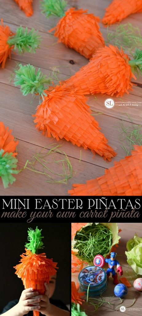 Mini Easter Piñatas | make your own carrot piñata #Easter #DisneyEaster