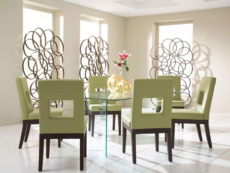 Glass On Glass Dining Table With Sage Chairs   Leather On Dark Brown Wood  Frames