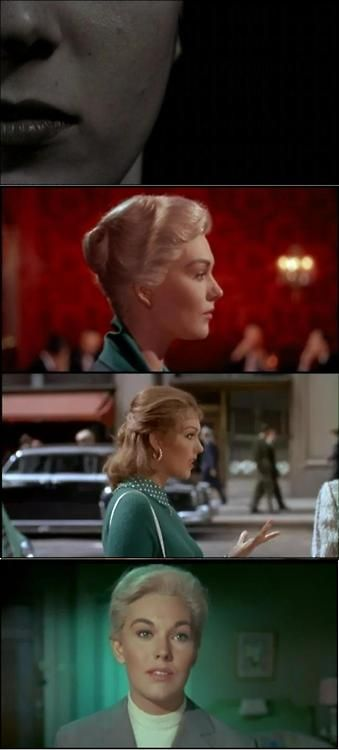 Vertigo, 1958. From top: the mad Carlotta; Madeleine Elster in the restaurant, a pre-arranged viewing for Scotty; Judy, the salesgirl from Magnin's; Judy transformed into Madeleine.