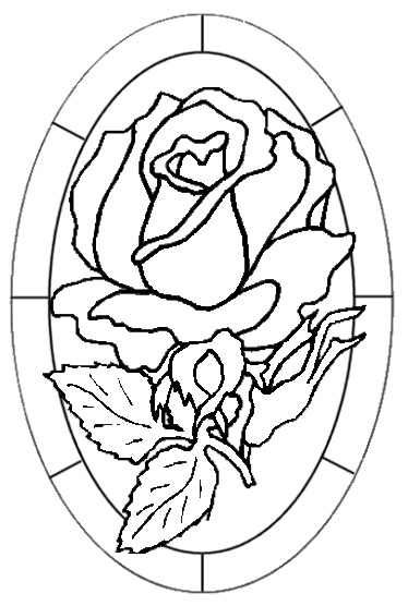 Glass Paintings Designs Or Coloring Page Rose