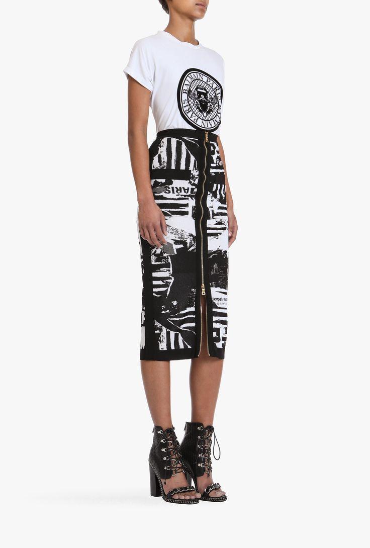 Mid-length skirt with newspaper print | Women's knit skirts | Balmain