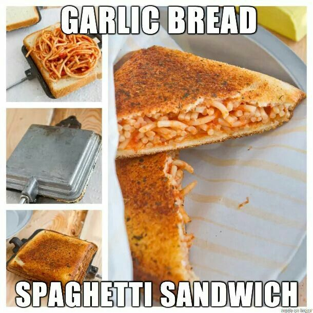 Garlic bread stuffed with spigette