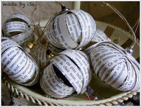 noel, boules, papier, récup', christmas, paper recycling