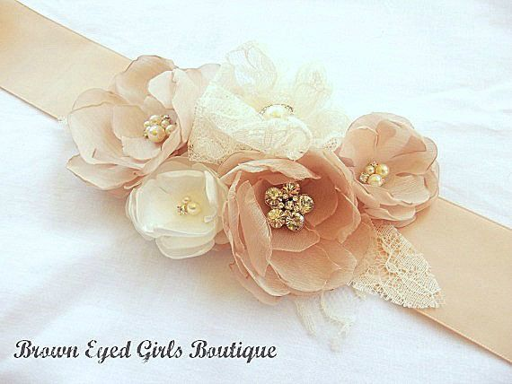 Blush Champagne and Ivory Bridal Sash, Blush Wedding Sash, Blush Wedding Belt on Etsy, $75.00
