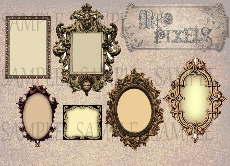 Fancy shapely oval and rectangle frames with regal and Steampunk style, color burn effects give a metal look finish in digital this download collage sheet. #CollageSheet #Frames #Flourishes #VintageImages #VictorianEra