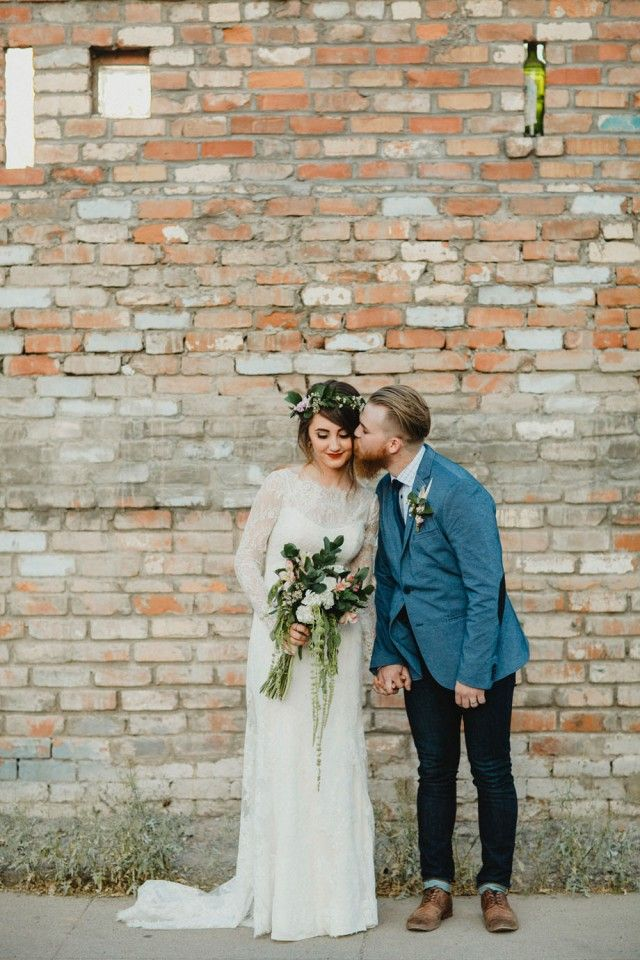 Industrial and Bohemian Wedding in Phoenix. Bricks make such a fantastic backdrop for any colour-scheme