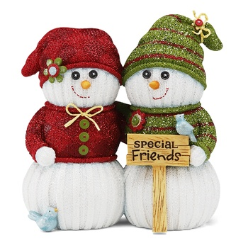 "Special Friends, 4.5"" Snowmen with Sign - The Sockings - Pavilion Gift Company"