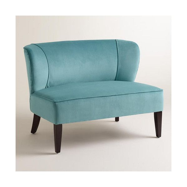 Cost Plus World Market Caribbean Blue Quincy Loveseat ($300) ❤ Liked On  Polyvore Featuring