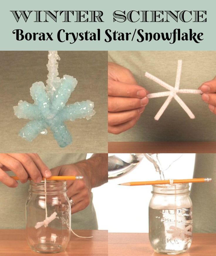 Borax Crystal Star/Snowflake Winter and Christmas STEM Experiment! the Borax Crystal Snowflake uses some fun, hands-on chemistry and makes a perfect holiday experiment for a perfect holiday decoration. (affiliate)