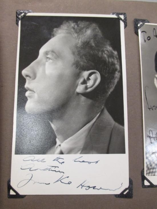 Sale D090715 Lot 217  An album of stage and theatre performers photographs c.1940s-50s, mostly signed, to include a young Frankie Howerd (signed), Morecambe & Wise (signed), Jimmy Edwards, Arthur Askey, Harry Secombe and others. Provenance: by descent from the vendor's father who lived nearby the Finsbury Park Empire and gathered them as stage door collections. - Cheffins
