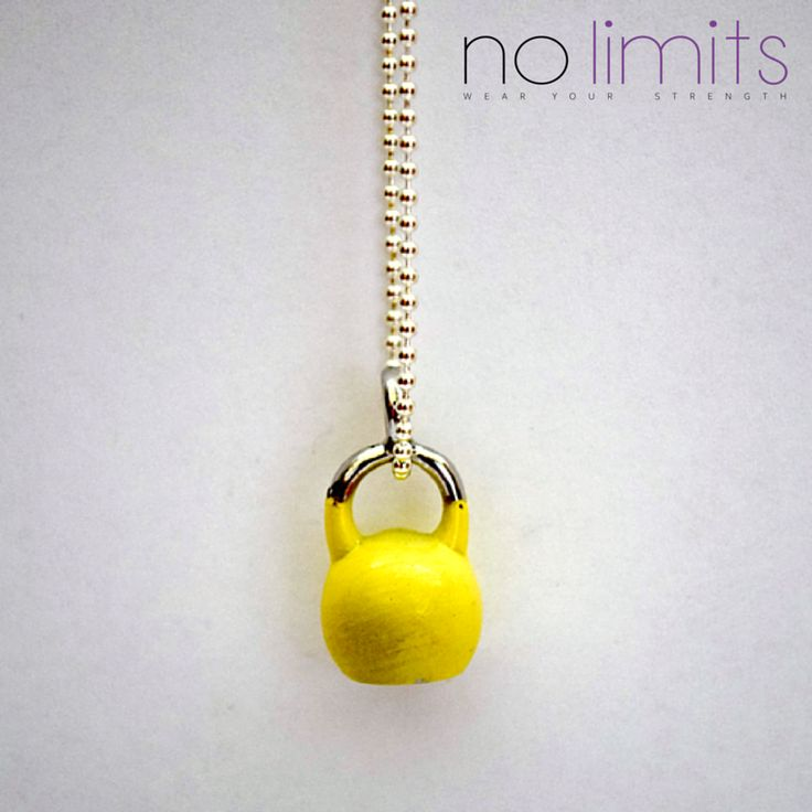 www.NoLimits.net.au Handmade fitness inspired jewellery. Short fine chain necklace with coloured kettle bell charm