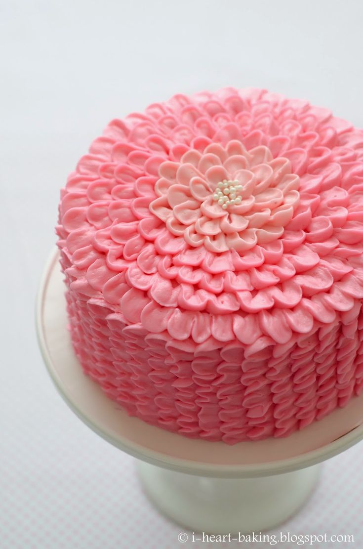 i heart baking!: pink ruffle flower chocolate mousse layer cake for a baby shower