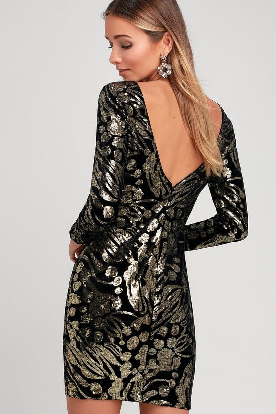 c5ffe4219f Lola Black and Gold Sequin Velvet Long Sleeve Bodycon Dress