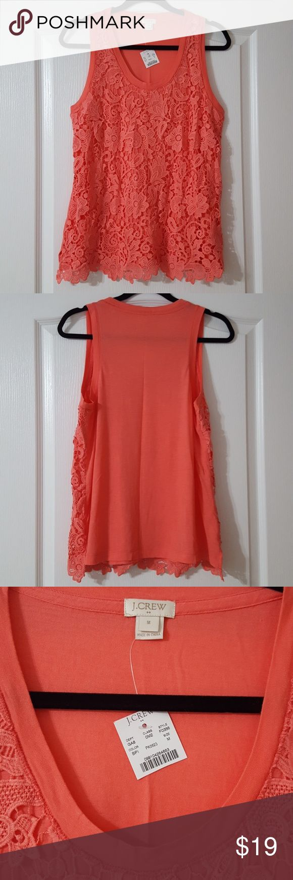 """J. Crew Crotchet-front Tank Top Modal rayon/Nylon  Salmon Pink color  Approx. 26"""" length, 18.5"""" across bust  Brand New with tag! J. Crew Tops Tank Tops"""