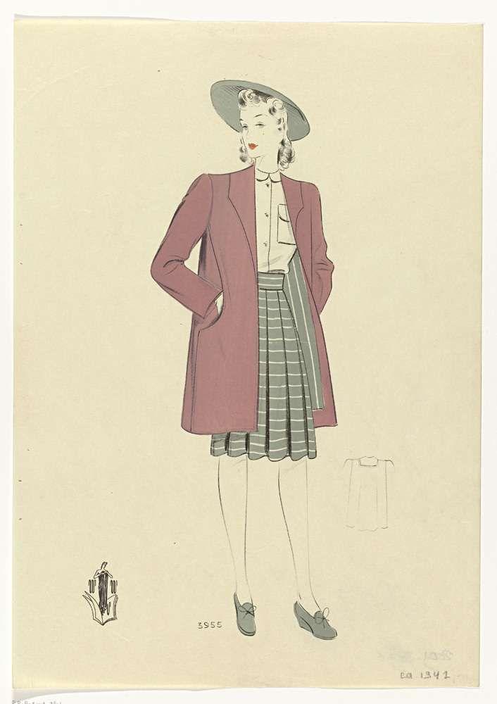 Anonymous   Vrouw met roze mantel, ca. 1942, No. 3955, Anonymous, c. 1942   Jonge vrouw in plooirok tot op de knie en witte blouse waarover een halflange roze mantel. Hoed met brede rand. Grijze schoenen.