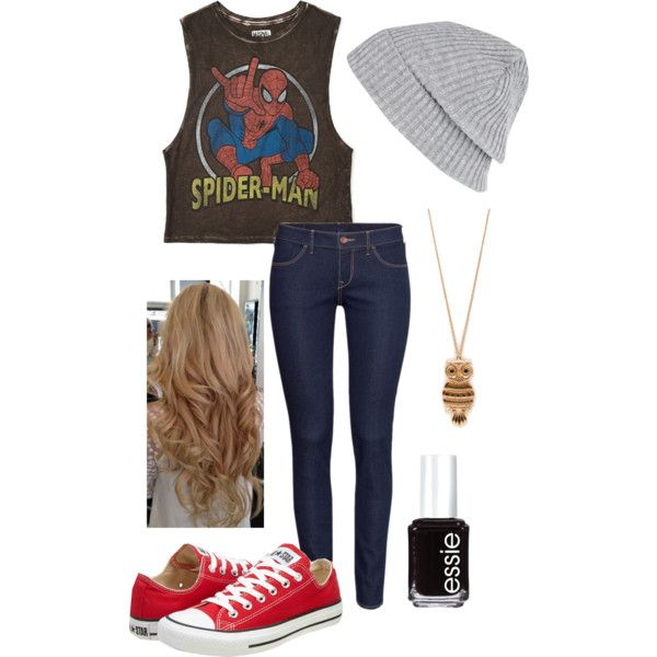 Spider-Man outfit! by oliviarenard, via Polyvore