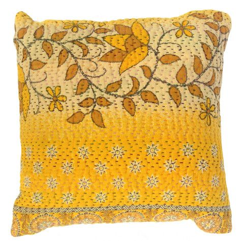 Basha Citrus Kantha Cushion