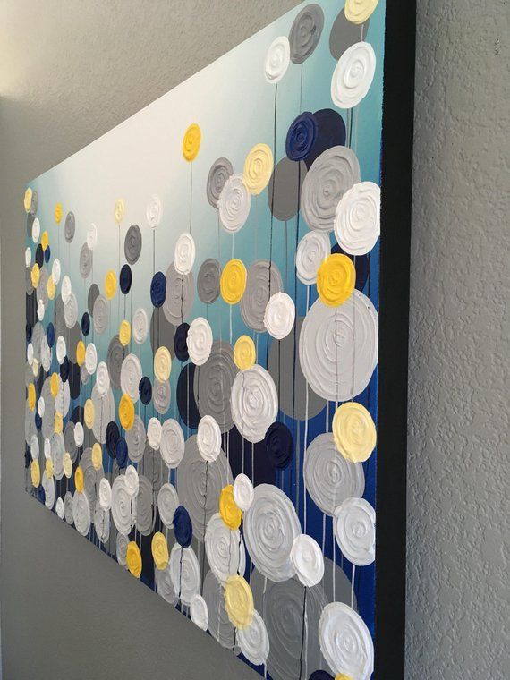 Navy Blue Turquoise Yellow And Gray Textured Painting Etsy In 2020 Yellow Decor Living Room Blue And Yellow Living Room Grey And Yellow Living Room #turquoise #yellow #and #gray #living #room