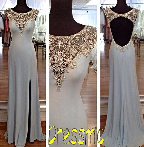2014 New Elegant Custom Sexy Backless Prom Dresses, Crystal Bead Evening,Prom Cocktail Homecoming Party Dresses Evening Gowns