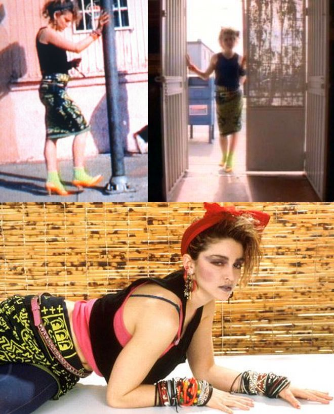 """Madonna wearing the Vivienne Westwood & Keith Haring skirt for the """"Borderline"""" video"""