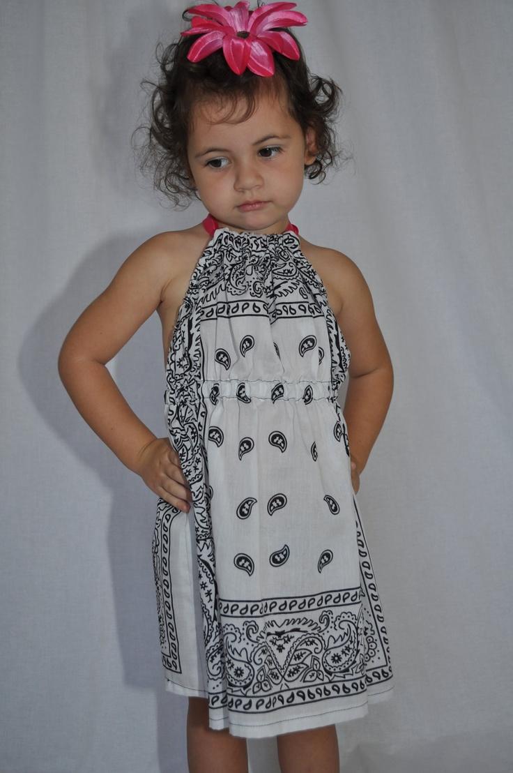 OOAK BANDANA girl halter dress beach cover up dress 2t 3T white paisley. $19.50, via Etsy.