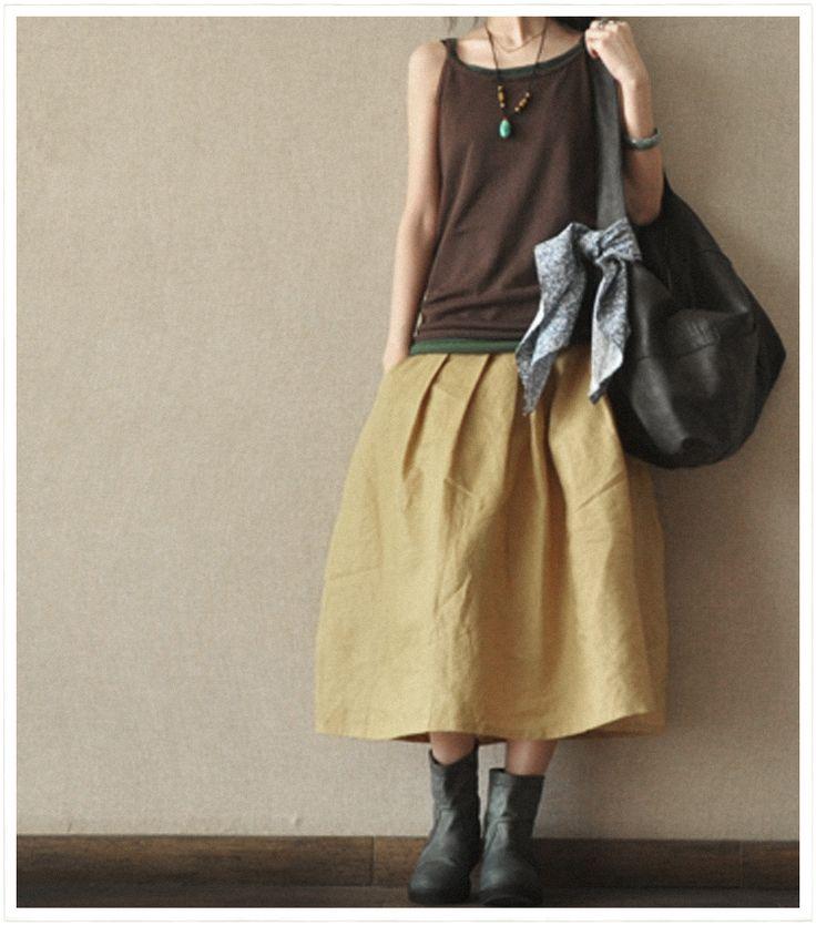 Yellow Linen women skirt
