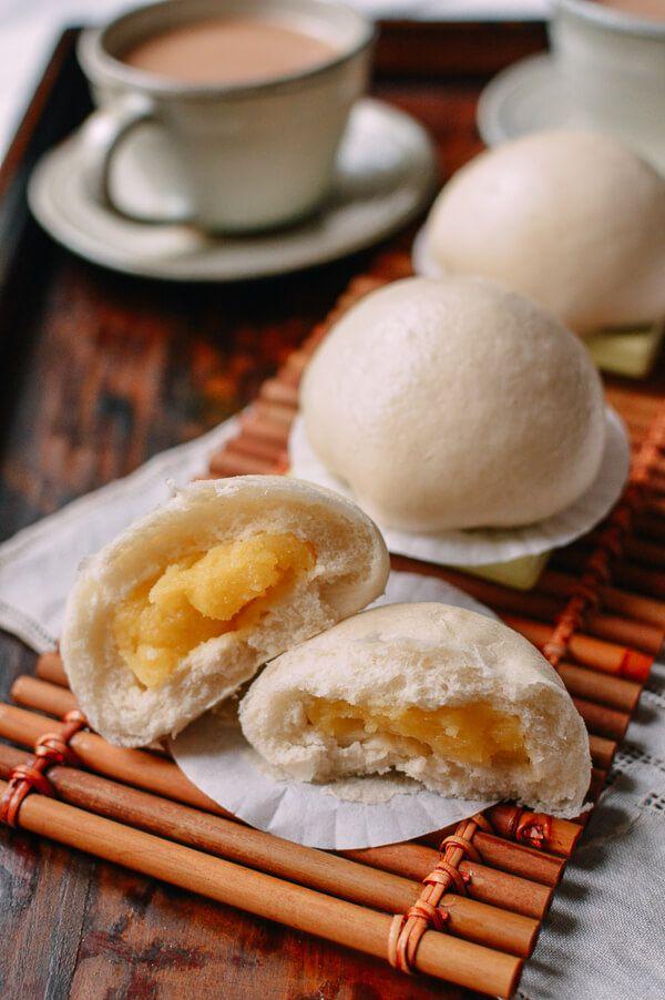 These steamed custard buns (nai wong bao) are a Cantonese dim sum favorite…
