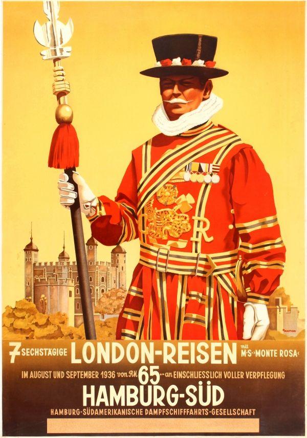 LONDON TOWER VINTAGE RAILWAY TRAVEL POSTER ART ADVERTISING BEEFEATER RETRO