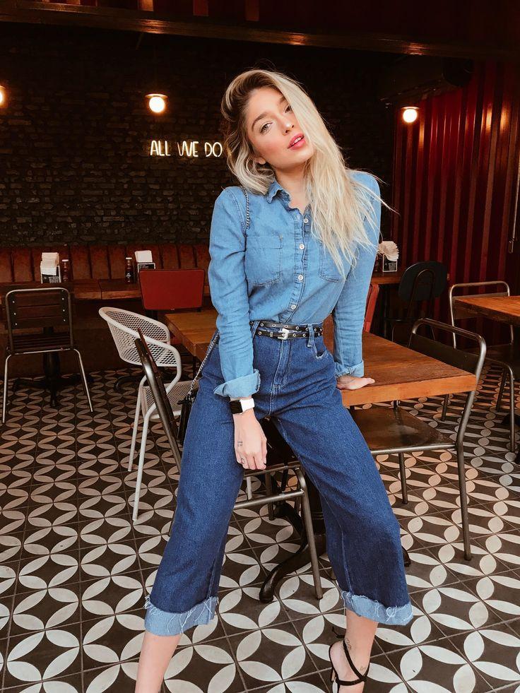 Calça Feminina Jeans Pantacourt Barra Dobrada | All jeans, Jeans, Estilo de moda feminina